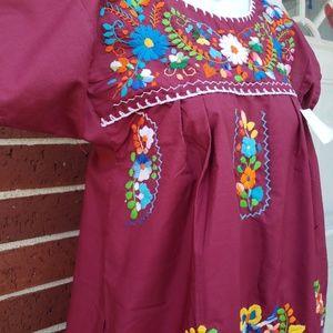 Burgundy Mexican Dress
